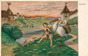 AK / Ansichtskarte Storch Baby Geburt Engel  Kat. Tiere