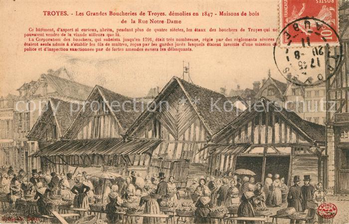 AK / Ansichtskarte Troyes Aube Les Grandes Boucheries Maisons de bois Rue Notre Dame Illustration Kuenstlerkarte Kat. Troyes
