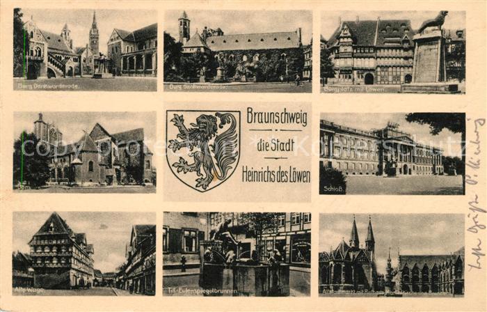 AK / Ansichtskarte Braunschweig Burg Dankwarderode Dom Alte Waage Burgplatz Loewe Skulptur Till Eulenspiegel Brunnen Schloss Markt Rathaus Wappen Kat. Braunschweig