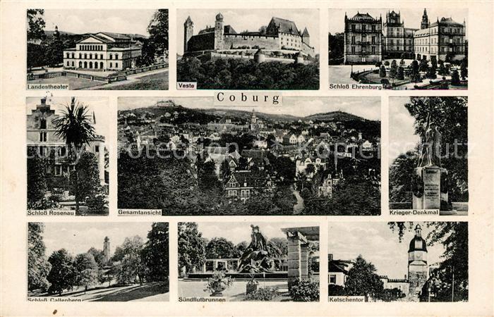AK / Ansichtskarte Coburg Theater Schloesser Suendflutbrunnen Ketschentor Kriegerdenkmal Gesamtansicht mit Veste Kat. Coburg