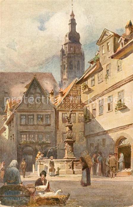AK / Ansichtskarte Coburg Blick in die Steingasse mit Morizkirche Kuenstlerkarte Kat. Coburg
