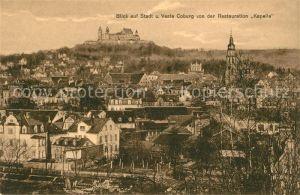 AK / Ansichtskarte Coburg Blick auf Stadt und Veste Coburg von der Restauration Kapelle Kat. Coburg