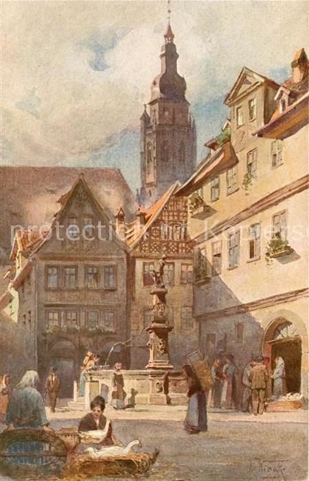 AK / Ansichtskarte Coburg Blick in Steingasse mit Moritzkirche Kuenstlerkarte Kat. Coburg