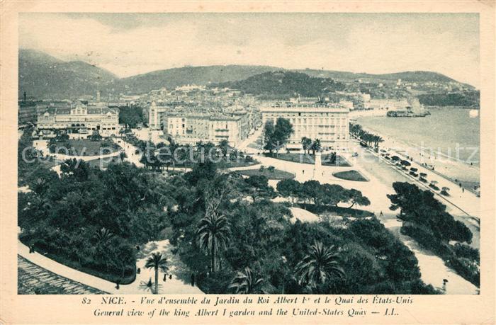 AK / Ansichtskarte Nice Alpes Maritimes Vue d ensemble du Jardin du Roi Albert Ier Quai des Etats Unis Cote d Azur Kat. Nice