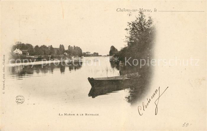 AK / Ansichtskarte Chalons sur Marne Ardenne La Marne et le Barrage Kat. Chalons en Champagne