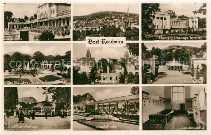 AK / Ansichtskarte Bad Nauheim Kurhaus Herzforschungs Institut 3 Badesprudel Sprudelhof Kur Anlage Wandelhalle Badequelle Kat. Bad Nauheim