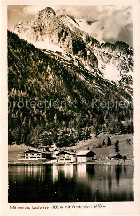 AK / Ansichtskarte Lautersee Mittenwald mit Wetterstein Kat. Mittenwald