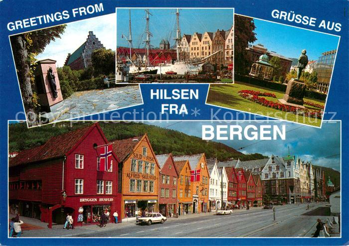 AK / Ansichtskarte Bergen Norwegen Over Hakonshallen Statsraad Lehmkuhl og Grieg statuen i Byparken Kat. Norwegen