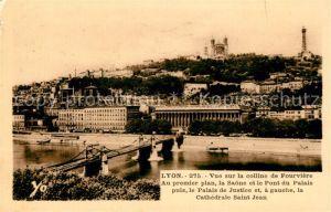 AK / Ansichtskarte Lyon France Vue sur la colline de Fourviere la Saone Pont du Palais Cathedrale Palais de Justice Kat. Lyon