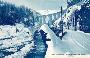AK / Ansichtskarte Chamonix Route et Pont Sainte Marie en hiver Kat. Chamonix Mont Blanc