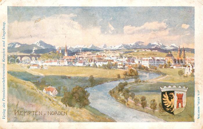 AK / Ansichtskarte Kempten Allgaeu Gesamtansicht mit Alpenpanorama Wappen Kuenstlerkarte Kat. Kempten (Allgaeu)