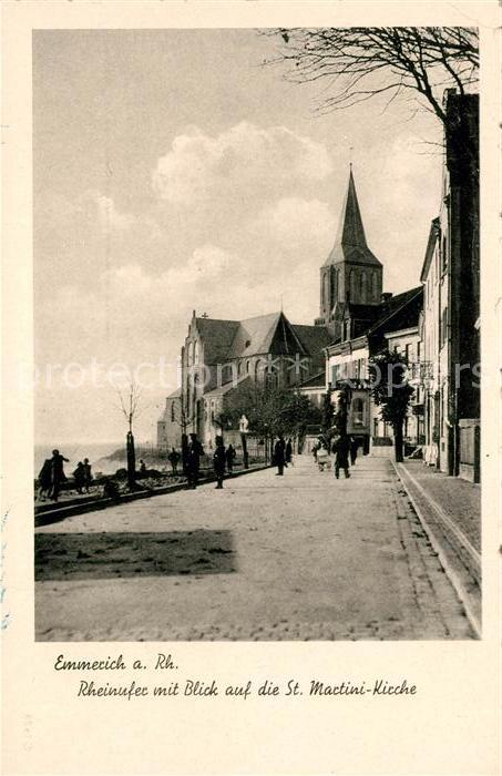 AK / Ansichtskarte Emmerich Rhein Rheinufer mit Blick auf St Martini Kirche Kat. Emmerich am Rhein
