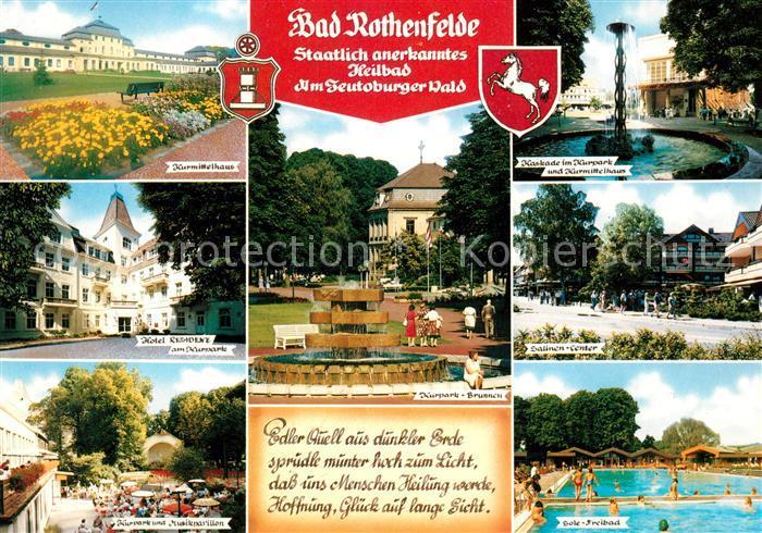 AK / Ansichtskarte Bad Rothenfelde Kurmittelhaus Kaskade im Kurpark Hotel Residenz Kurpark Brunnen Salinen Center Musikpavillon Sole Freibad Kat. Bad Rothenfelde