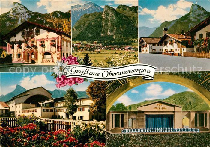 AK / Ansichtskarte Oberammergau Panorama Passionsspielhaus Dorfmotive Kat. Oberammergau