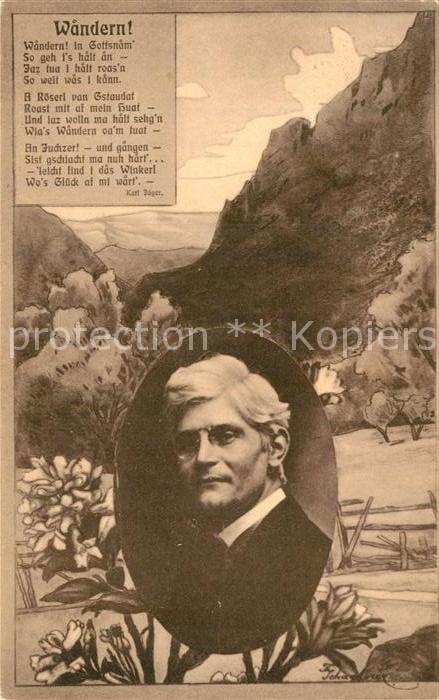 AK / Ansichtskarte Gedicht auf AK Wandern Karl Jaeger  Kat. Lyrik