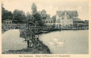 AK / Ansichtskarte Bad Oeynhausen Koenigl. Siel Restaurant mit Schwanenteich Kat. Bad Oeynhausen