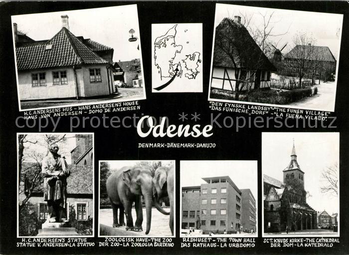 AK / Ansichtskarte Odense Andersen Haus Fuenisches Dorf Statue von Andersen Rathaus Dom Kat. Odense