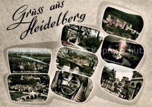 AK / Ansichtskarte Heidelberg Neckar Panorama vom Rindenhaeuschen und Philosophenweg Elisabethenstr Grosses Fass Schloss beleuchtet Schlosshof Kat. Heidelberg