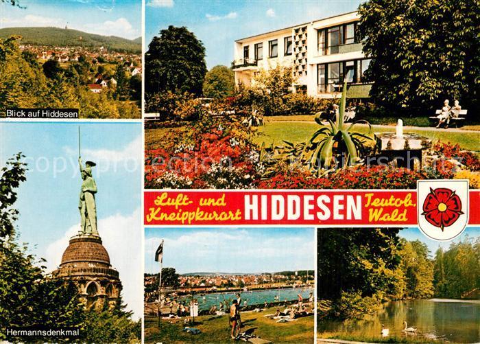AK / Ansichtskarte Hiddesen Hermannsdenkmal Freibad  Kat. Detmold