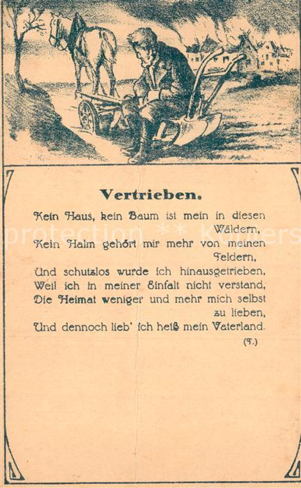 AK / Ansichtskarte Gedicht auf AK Vertrieben Rueckwandererhilfe Volksspende  Kat. Lyrik