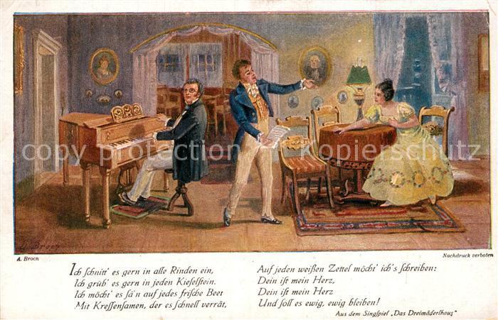 AK / Ansichtskarte Schubert Franz Das Dreimaederlhaus Kuenstlerkarte A. Broch Kat. Persoenlichkeiten