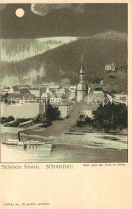 AK / Ansichtskarte Bad Schandau Ortsansicht im Mondschein Illustration Halt gegen das Licht Kat. Bad Schandau