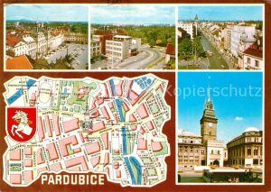 AK / Ansichtskarte Pardubice Pardubitz Pernstejnske namesti Stredni prumyslova skola potravinarske technologie Trida Miru Zelena brana Kat. Pardubice