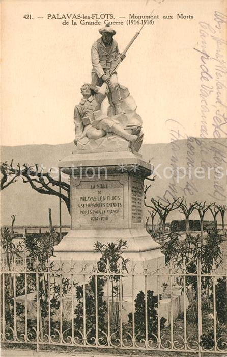 AK / Ansichtskarte Palavas les Flots Herault Monument aux Morts de la Grande Guerre Kat. Palavas les Flots