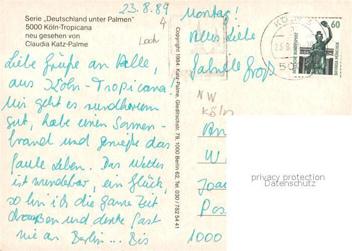 Köln Karte Deutschland.Ak Ansichtskarte Koeln Rhein Deutschland Unter Palmen Claudia Katz Palme Kat Koeln