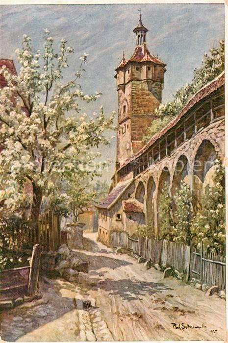 AK / Ansichtskarte Sollmann Paul Rothenburg Tauber Stadtmauerpartie Klingenturm  Kat. Kuenstlerkarte