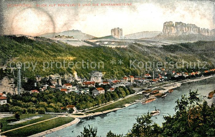 AK / Ansichtskarte Bad Schandau Blick auf Postelwitz und die Schrammsteine Elbsandsteingebirge Kat. Bad Schandau