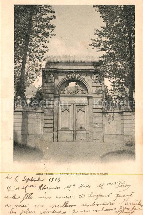 AK / Ansichtskarte Argenteuil Val d Oise Porte du Chateau des Marais Kat. Argenteuil