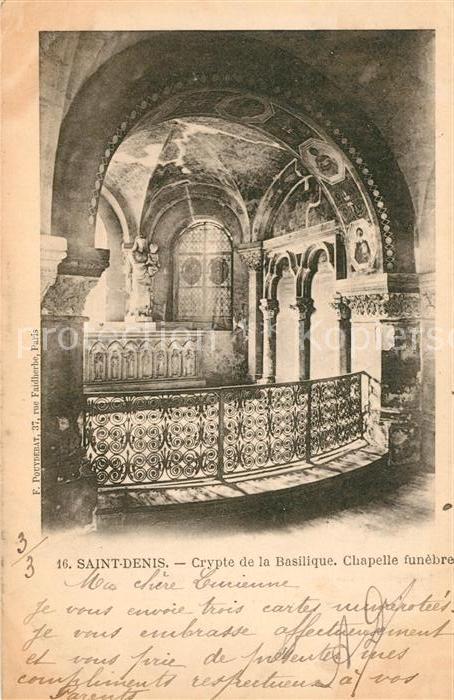 AK / Ansichtskarte Saint Denis Seine Saint Denis Crypte de la Basilique Chapelle funebre