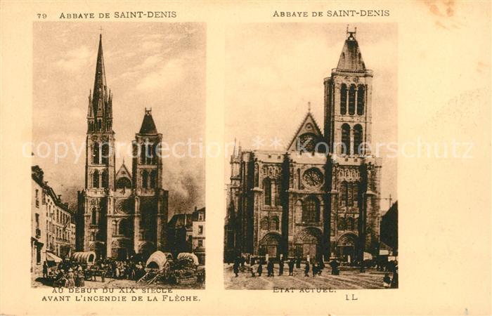 AK / Ansichtskarte Saint Denis Seine Saint Denis Abbaye au debut du XIX siecle et etat actuel