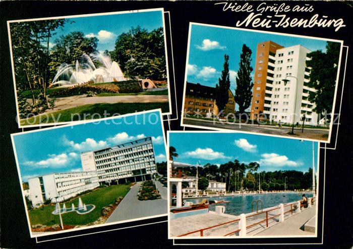 ak ansichtskarte neu isenburg park fontaene hochhaeuser