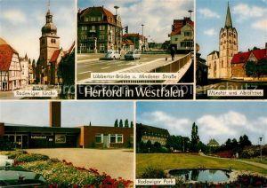 AK / Ansichtskarte Herford Radewiger Kirche Luebbertor Brueckeund Mindener Str Muenster und Abteihaus Hallenbad Radewiger Park Kat. Herford