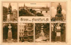 AK / Ansichtskarte Frankfurt Main Denkmaeler Statuen Buesten Totalansicht mit Dom Kat. Frankfurt am Main