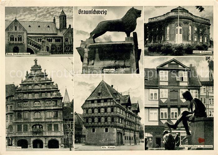 AK / Ansichtskarte Braunschweig Schloss Dankwarderode Schloss Richmond Burgloewe Eulenspiegelhaus Waage Gewandhaus Kat. Braunschweig
