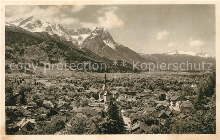 AK / Ansichtskarte Garmisch Partenkirchen gegen Zugspitze und Tirol Kat. Garmisch Partenkirchen