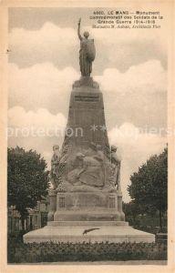 AK / Ansichtskarte Le Mans Sarthe Monument commemoratif des Soldats de la Grande Guerre  Kat. Le Mans
