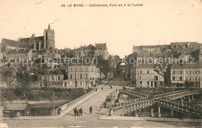 AK / Ansichtskarte Le Mans Sarthe Cathedrale Pont en X et Tunnel Kat. Le Mans