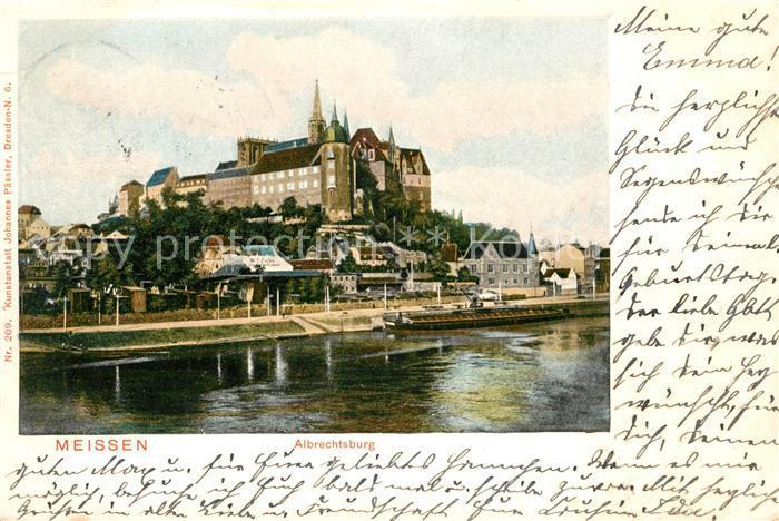 AK / Ansichtskarte Meissen Elbe Sachsen Blick ueber die Elbe mit Albrechtsburg und Dom Kat. Meissen