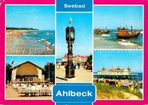 AK / Ansichtskarte Ahlbeck Ostseebad Seebruecke Strand Konzertpavillon Stranduhr Kat. Heringsdorf Insel Usedom