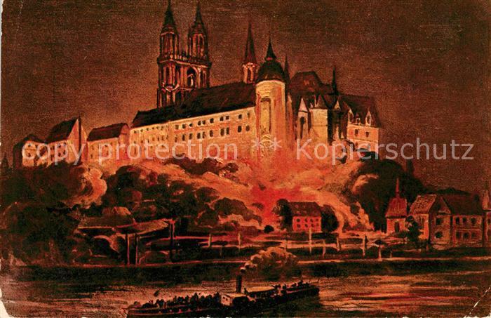 AK / Ansichtskarte Meissen Elbe Sachsen Albrechtsburg Beleuchtung Kuenstlerkarte Kat. Meissen