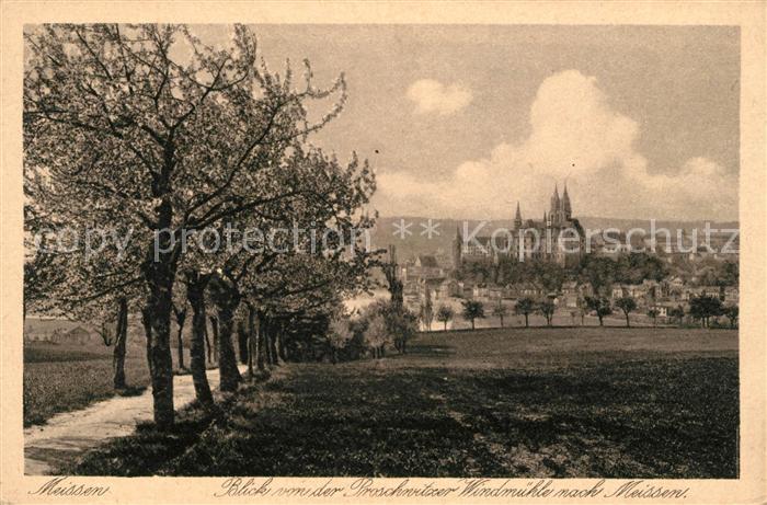 AK / Ansichtskarte Meissen Elbe Sachsen Blick von der Proschwitzer Windmuehle zur Stadt Albrechtsburg Kupfertiefdruck Kat. Meissen