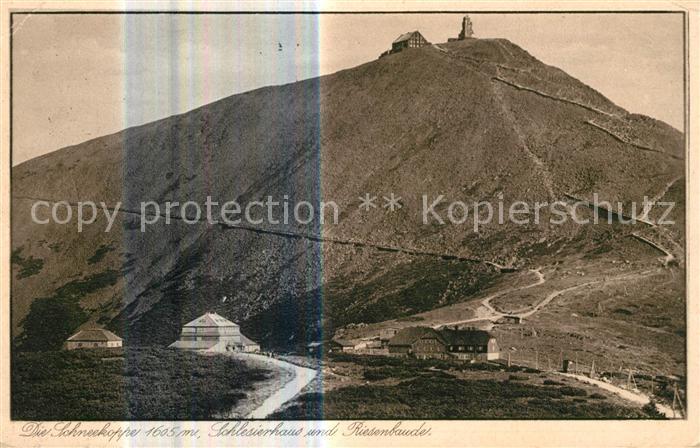 AK / Ansichtskarte Schneekoppe Snezka Schlesierhaus mit Riesenbaude Kat. Riesengebirge Krkonose