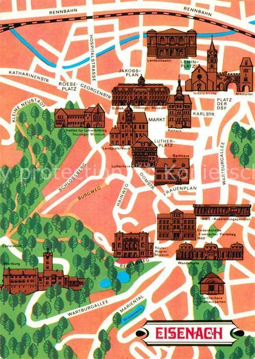 AK / Ansichtskarte Eisenach Thueringen Touristische Karte Kat. Eisenach