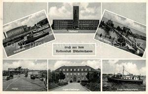 AK / Ansichtskarte Wilhelmshaven Strandhalle Rathaus KW Bruecke Hafen Jugendherberge Hafeneinfahrt Kat. Wilhelmshaven