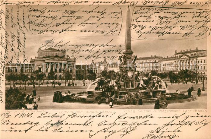 AK / Ansichtskarte Leipzig Augustusplatz Brunnen Rembrandt Postkarte Kat. Leipzig