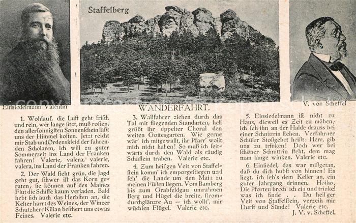 AK / Ansichtskarte Staffelberg mit Gedicht Portraets Valentin und V. von Scheffel Kat. Bad Staffelstein